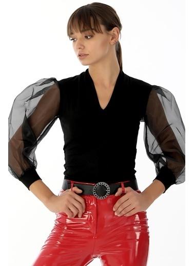 Emjey Organze Kollu Çıtçıtlı Bluz Siyah